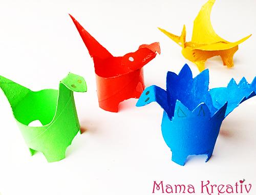 basteln mit kindern dinos aus klorollen mama kreativ. Black Bedroom Furniture Sets. Home Design Ideas
